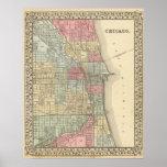 Mapa de Chicago de Mitchell Póster