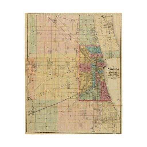 Mapa de Chicago Impresiones En Madera