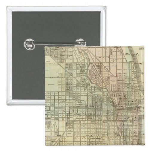 Mapa de Chicago Pin Cuadrado