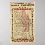 Mapa de Chicago que muestra el distrito quemado Poster