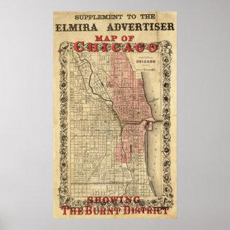 Mapa de Chicago que muestra el distrito quemado Póster