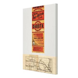 Mapa de Chicago y de líneas ferroviarias del noroe Lona Envuelta Para Galerías