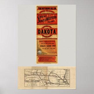 Mapa de Chicago y de líneas ferroviarias del noroe Póster