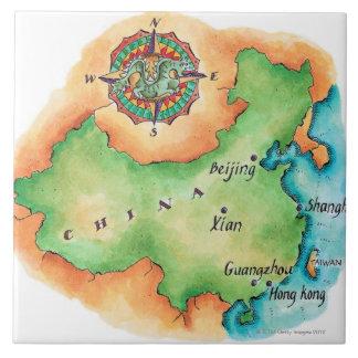 Mapa de China Azulejo Cuadrado Grande