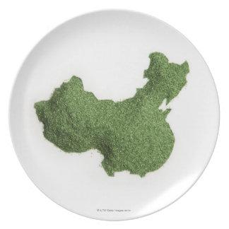 Mapa de China continental hecho de hierba Platos Para Fiestas