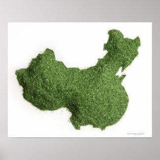 Mapa de China continental hecho de hierba Póster