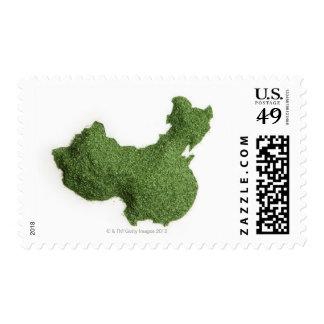 Mapa de China continental hecho de hierba Timbre Postal