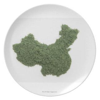 Mapa de China continental hecho de la hierba 2 Plato Para Fiesta