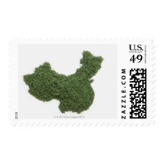 Mapa de China continental hecho de la hierba 2 Sellos