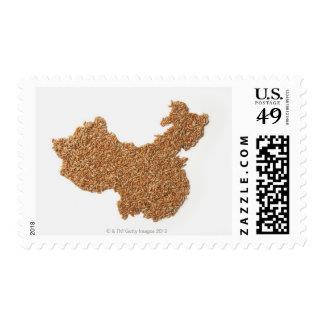 Mapa de China continental hecho del arroz pegajoso Estampillas