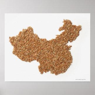 Mapa de China continental hecho del arroz pegajoso Poster