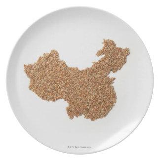 Mapa de China continental hecho del arroz pegajoso Platos Para Fiestas