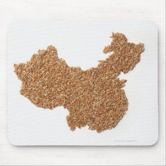 Mapa de China continental hecho del arroz pegajoso Tapetes De Ratón