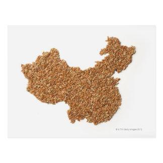 Mapa de China continental hecho del arroz pegajoso Tarjetas Postales