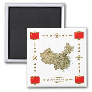 Mapa de China + Imán de las banderas