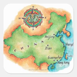 Mapa de China Pegatina Cuadrada