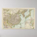 Mapa de China y de Japón Póster