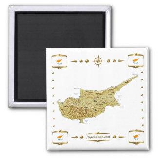 Mapa de Chipre + Imán de las banderas