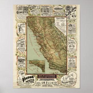 Mapa de ciclo 1895 de la bicicleta de California d Impresiones