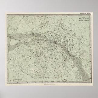 Mapa de cielo nocturno del Norther Posters