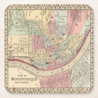 Mapa de Cincinnati de Mitchell Posavasos De Cartón Cuadrado