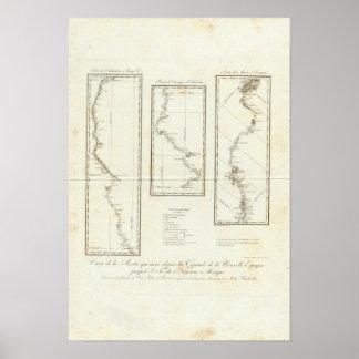 Mapa de Ciudad de México a Santa Fe New México Póster