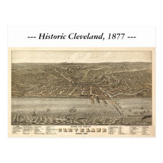 Mapa de Cleveland Ohio 1877 Tarjeta Postal