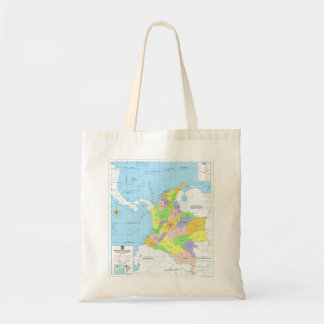 Mapa de Colombia Map of Colombia Canvas Bags