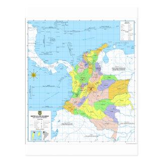 Mapa de Colombia Map of Colombia Postcard