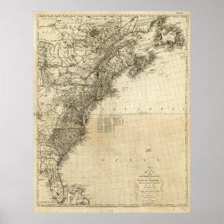 Mapa de colonias británicas de Juan Andrews (1777) Póster