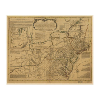 Mapa de colonias británicas en América (1771) Cuadros De Madera