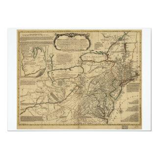 """Mapa de colonias británicas en América (1771) Invitación 5"""" X 7"""""""