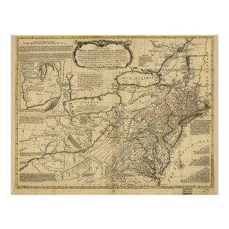 Mapa de colonias británicas en América (1771) Membrete A Diseño