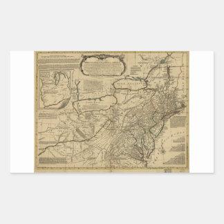 Mapa de colonias británicas en América (1771) Pegatina Rectangular