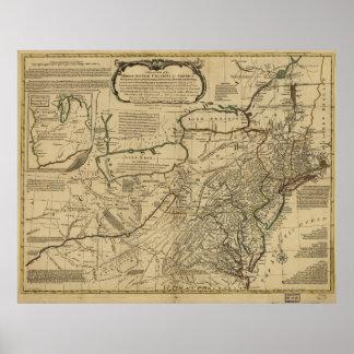 Mapa de colonias británicas en América (1771) Póster