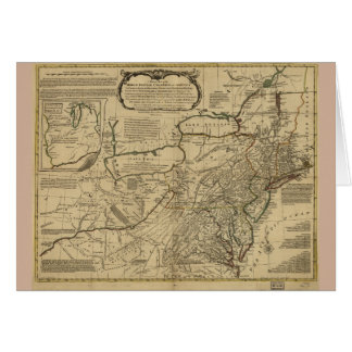 Mapa de colonias británicas en América (1771) Tarjeta De Felicitación