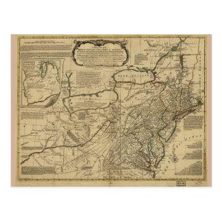 Mapa de colonias británicas en América (1771) Tarjetas Postales