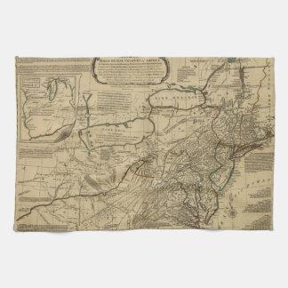 Mapa de colonias británicas en América (1771) Toallas De Mano