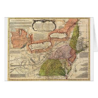 Mapa de colonias británicas medias en América 1771 Tarjetón
