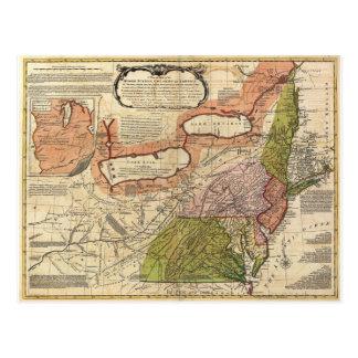 Mapa de colonias británicas medias en América 1771 Tarjetas Postales