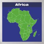 Mapa de color de África Póster