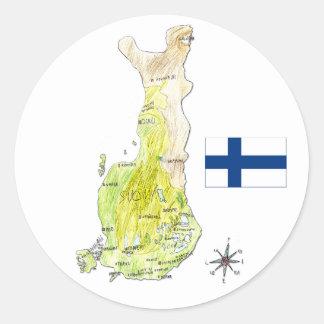 Mapa de color del pegatina del dibujo de Finlandia