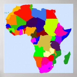 Mapa de color del poster de África - espacio en bl