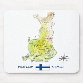 Mapa de color dibujado mano de Finlandia Mousepad Tapetes De Ratones
