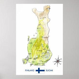 Mapa de color dibujado mano del poster de Finlandi