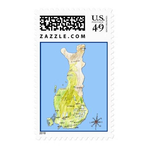 Mapa de color dibujado mano del sello de Finlandia
