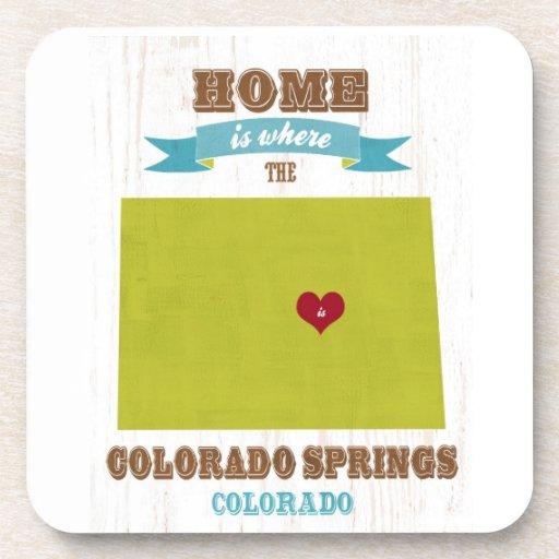 Mapa de Colorado Springs, Colorado - casero es don Posavasos De Bebidas