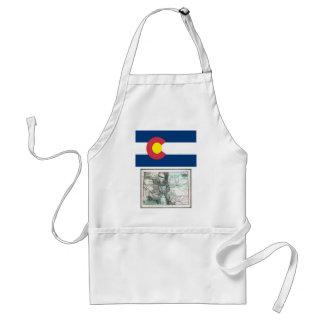 Mapa de Colorado y bandera del estado Delantal