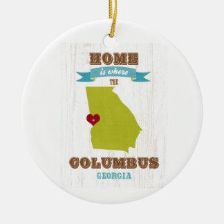 Mapa de Columbus, Georgia - casero es donde está Adorno Navideño Redondo De Cerámica