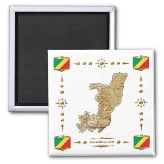 Mapa de Congo-Brazzaville + Imán de las banderas